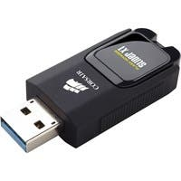Corsair Flash Voyager Slider X1 USB 3.0 32GB USB Drive - 32 GB - USB 3.0 - Black - Retractable, LED Light, Capless
