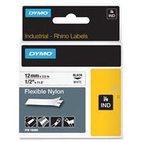 "Dymo RhinoPRO Flexible Wire and Cable Label Tape - 0.47"" Width x 11.48 ft Length - Thermal Transfer - White, Black - Nylon - 1 Each"