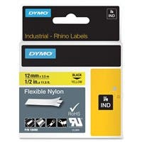"Dymo RhinoPRO Wire and Cable Label Tape - 0.50"" Width x 11.50 ft Length - Direct Thermal - Yellow - Nylon - 1 Each"