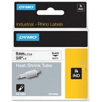 "Rhino Heat Shrink Tube Label - 0.37"" Width x 5ft Length - Rectangle - Polyolefin - Thermal Transfer - White"