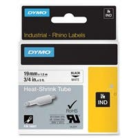 "Dymo Heat Shrink Tube Wire & Cable Label - 0.75"" Width x 59.06"" Length - Direct Thermal - White, Black - Vinyl - 1 Each"