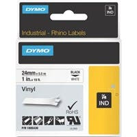 "Dymo Black on White Color Coded Label - Permanent Adhesive - ""1"" Width x 18.04 ft Length - Thermal Transfer - White - Vinyl"