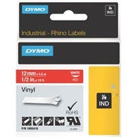 "Dymo White on Red Color Coded Label - Permanent Adhesive - ""0.47"" Width x 18.04 ft Length - Rectangle - Thermal Transfer - Red, White - Vinyl"