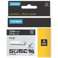 "Dymo White on Black Color Coded Label - Permanent Adhesive - ""0.50"" Width x 18 ft Length - Thermal Transfer - Black - Vinyl"