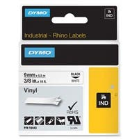 "Dymo RhinoPro Industrial Label Tape - Permanent Adhesive - ""0.38"" Width x 18 ft Length - Rectangle - Thermal Transfer - White - Vinyl - 1 Each"