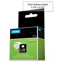 "Dymo Address Label - 1.12"" Width x 3.50"" Length - 130 / Roll - Rectangle - Direct Thermal - Clear"