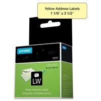 "Dymo 30255 Address Label - Permanent Adhesive - ""1.12"" Width x 3.50"" Length - 130 / Roll - Direct Thermal - Yellow - Paper - 130 / Box"