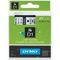 "Dymo Black on White D1 Label Tape - 0.37"" Width x 23 ft Length - Thermal Transfer - White - Polyester - 1 Each"