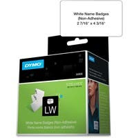 """Dymo Non-Adhesive Name Badge Label - 2.44"""" Width x 4.19"""" Length - 250 / Roll - Rectangle - White - 250 / Roll"""