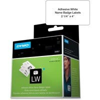 "Dymo Name Badge Label with Clip Hole - Removable Adhesive - 4"" Width x 2.25"" Length - Rectangle - Direct Thermal - White - 250 / Roll"