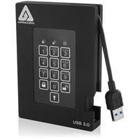 Apricorn Aegis Padlock A25-3PL256-500F 500 GB External Hard Drive - USB 3.0 - 5400rpm - 8 MB Buffer - Portable