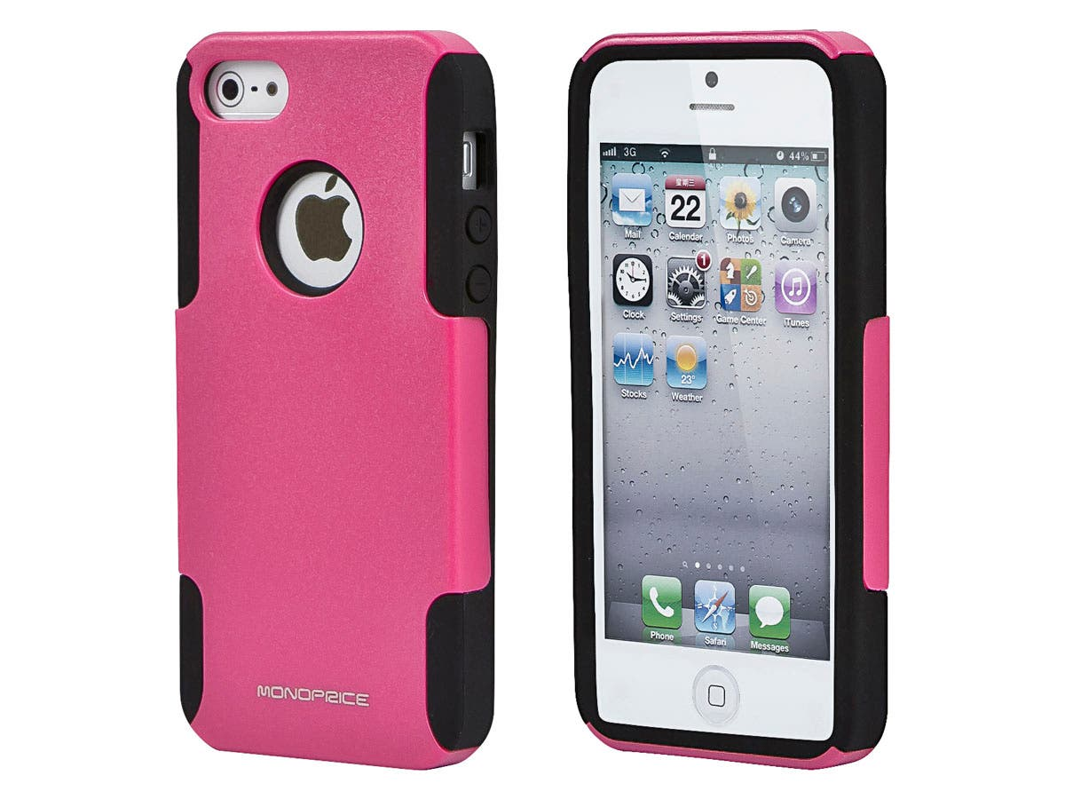 Dual Guard PC+Silicone Case for iPhone 5/5s/SE, Pink