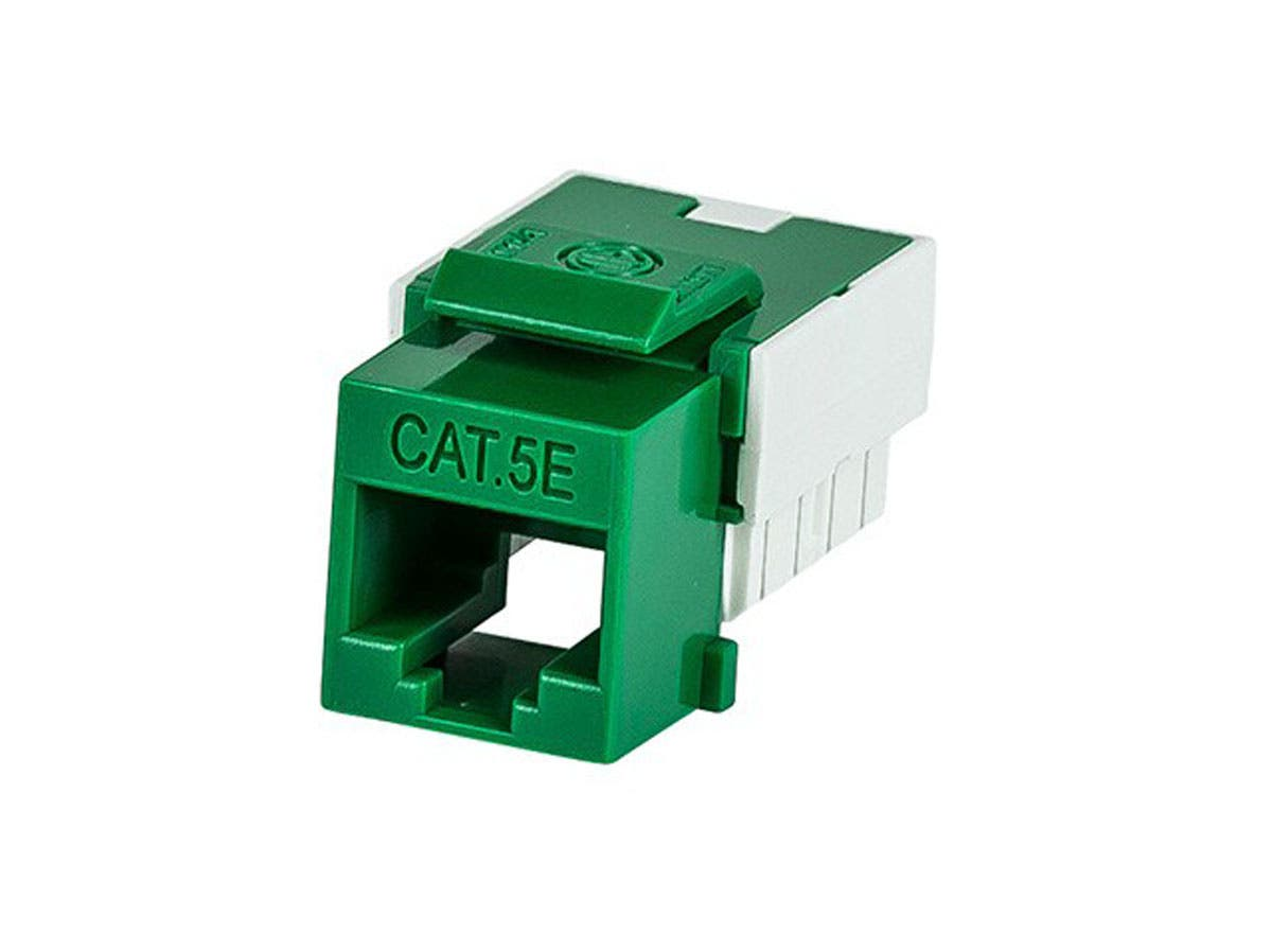 Slim Cat5E Punch Down Keystone Jack - Green