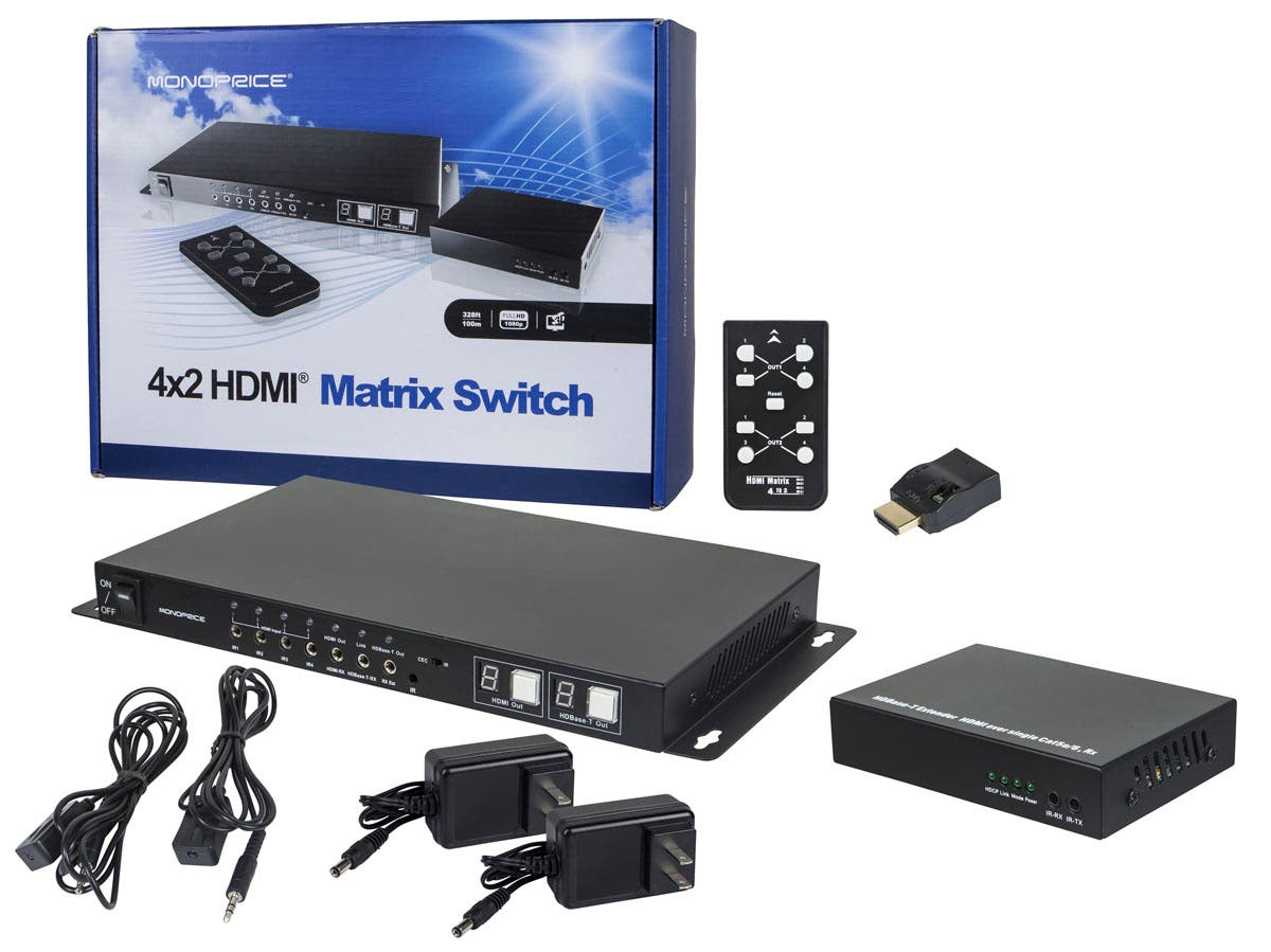 HDBaseT 4x2 HDMI Matrix Switch and Receiver