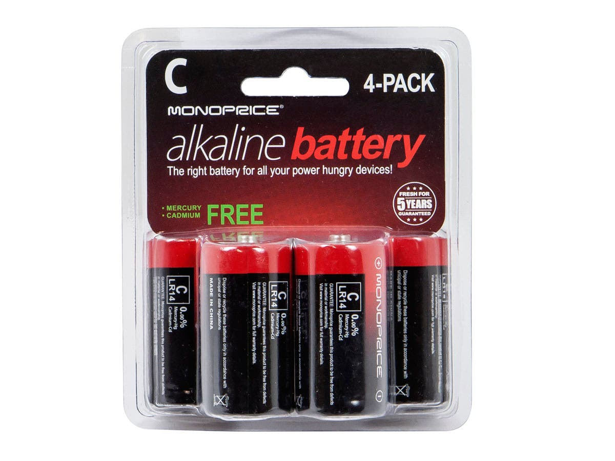 Monoprice C Alkaline Battery 4-Pack-Large-Image-1