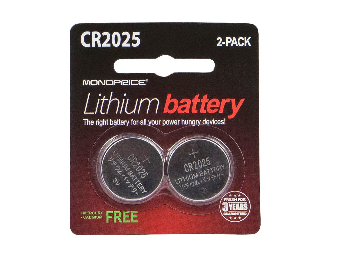 Monoprice Lithium CR2025 3V Battery 2-Pack