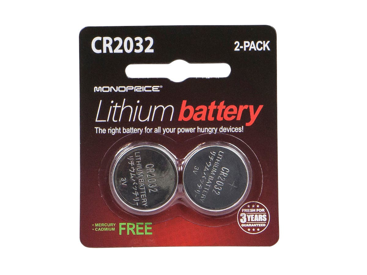 monoprice cr2032 3v lithium battery 2 pack. Black Bedroom Furniture Sets. Home Design Ideas