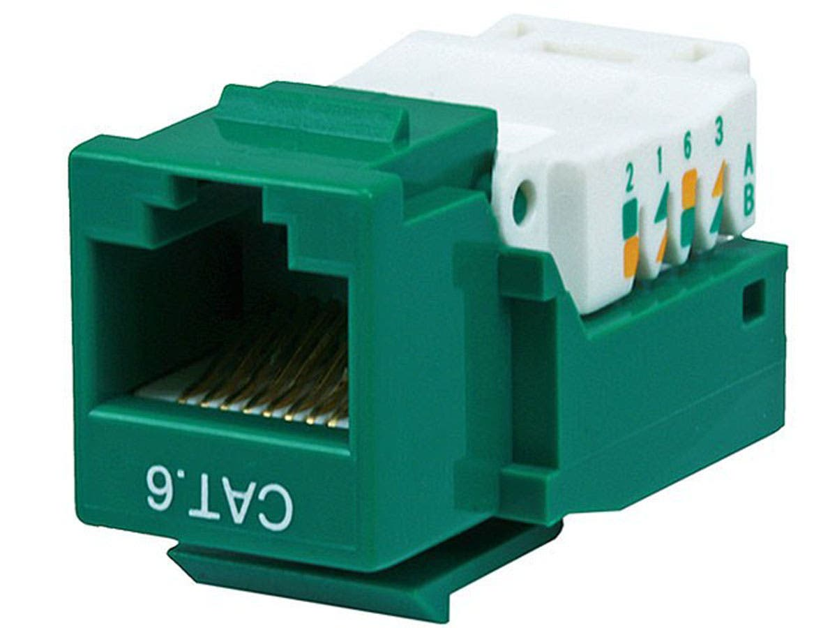 Cat6 RJ-45 Toolless Keystone - Green