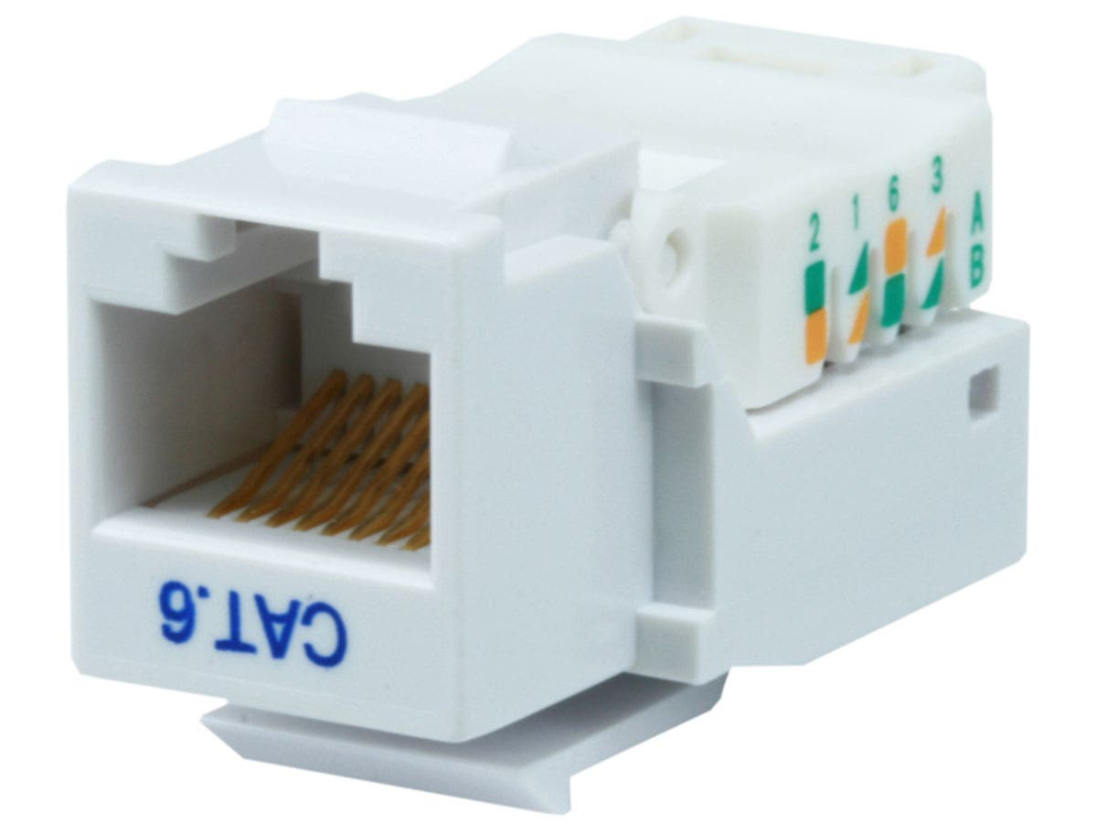 Monoprice Cat6 RJ-45 Toolless Keystone - White-Large-Image-1