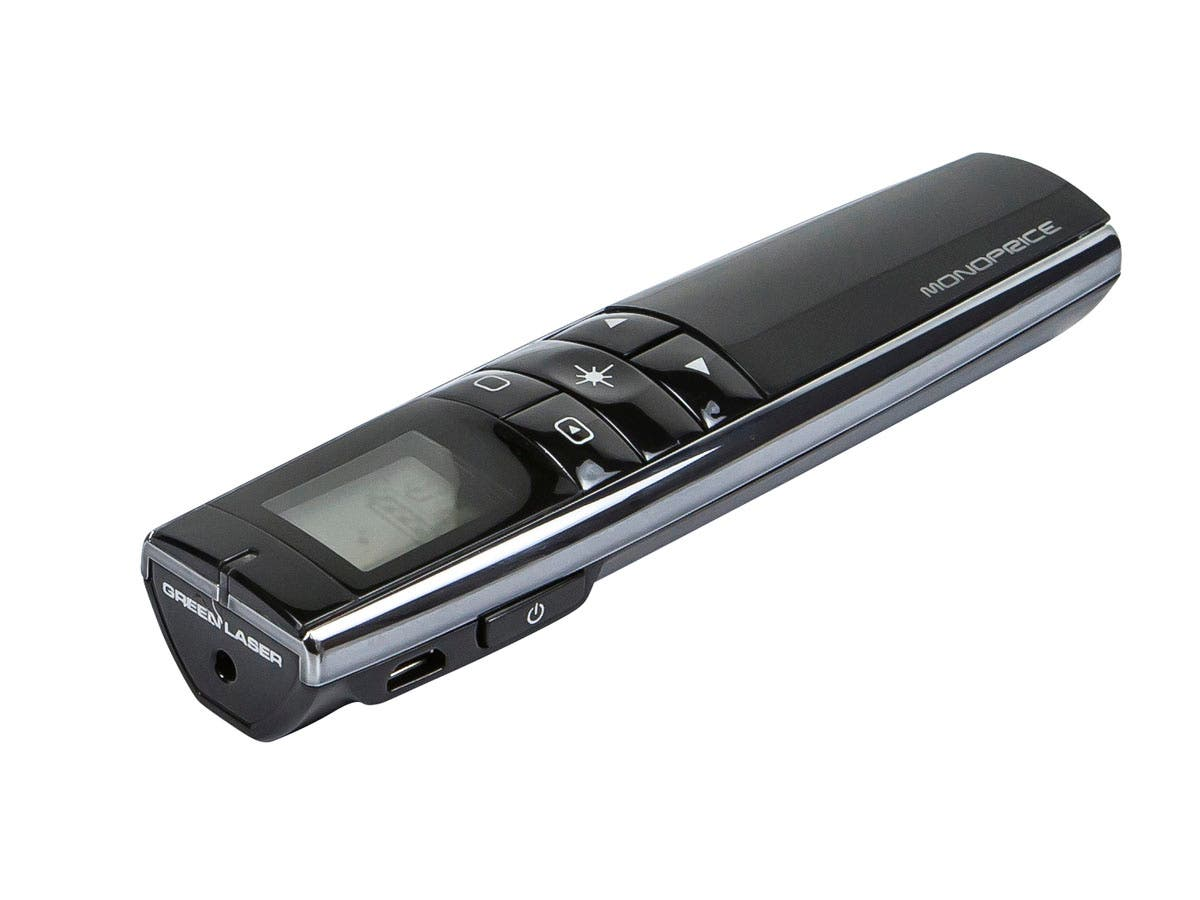 Rechargeable Multimedia Green Laser Presenter with LCD Display 2.4GHz - Black