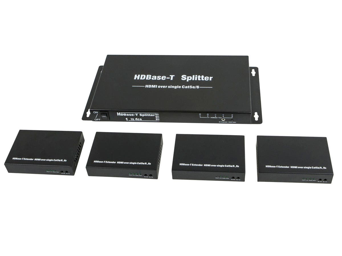 HDBaseT 1x4 HDMI Splitter and 4 Receivers