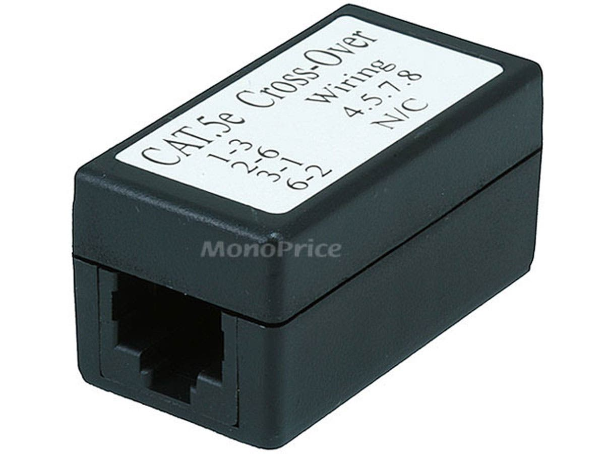 Monoprice Cat5e Crossover Inline Coupler - Black-Large-Image-1