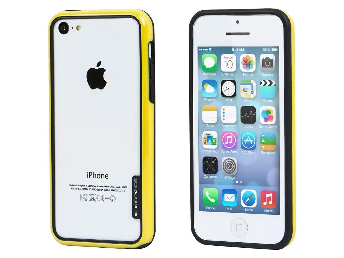 Monoprice PC+TPU Edge Bumper for iPhone 5c, Yellow-Large-Image-1