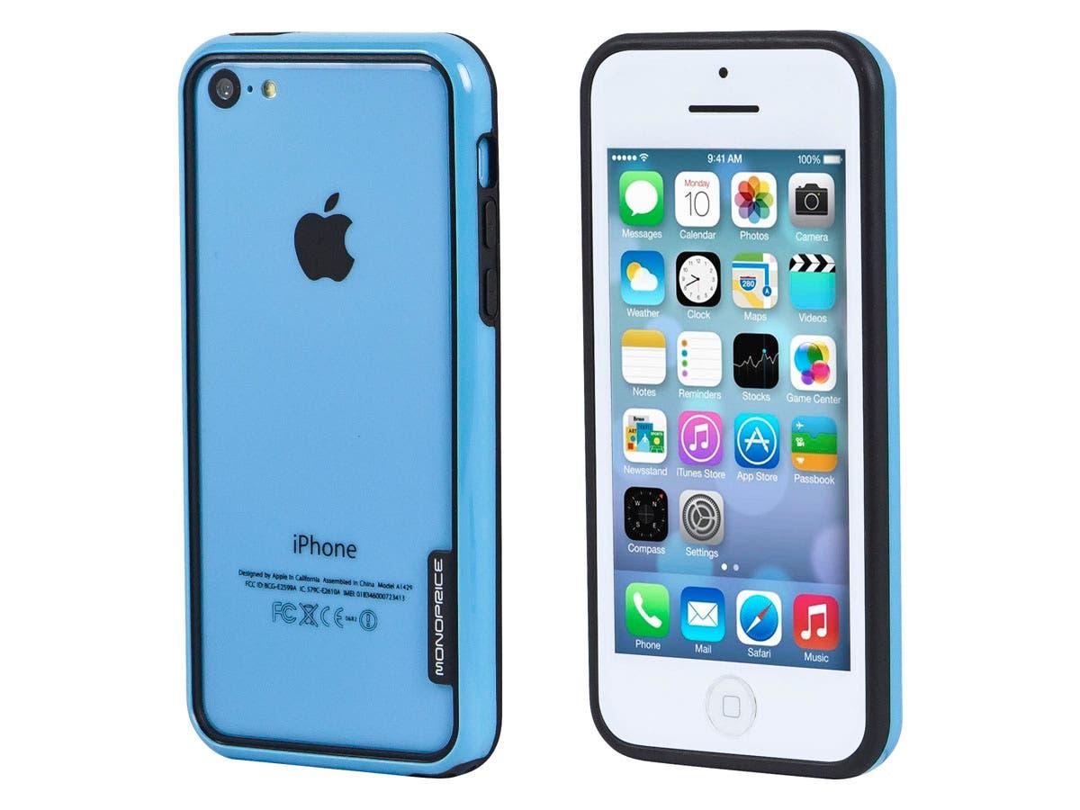 Monoprice PC+TPU Edge Bumper for iPhone 5c, Blue-Large-Image-1