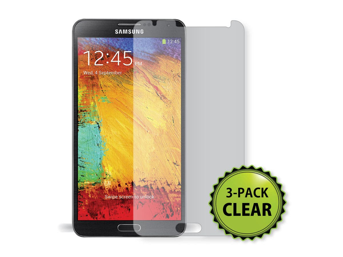 Screen Protector (3-Pack) with Cleaning Cloth for Samsung Galaxy Note 3, Transparent Finish