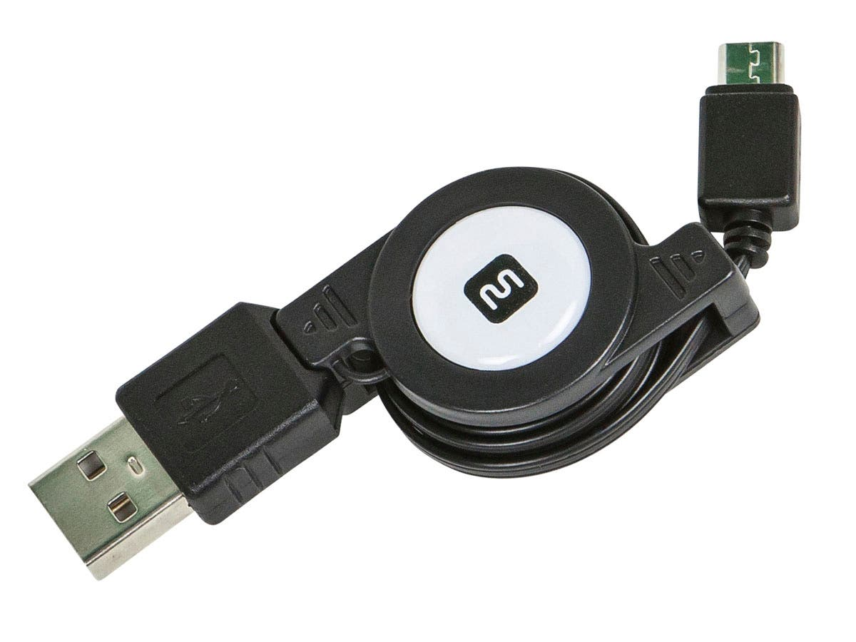 USB 2.0 Retractable Cable - A Male to Micro B Male - 2.5 Ft