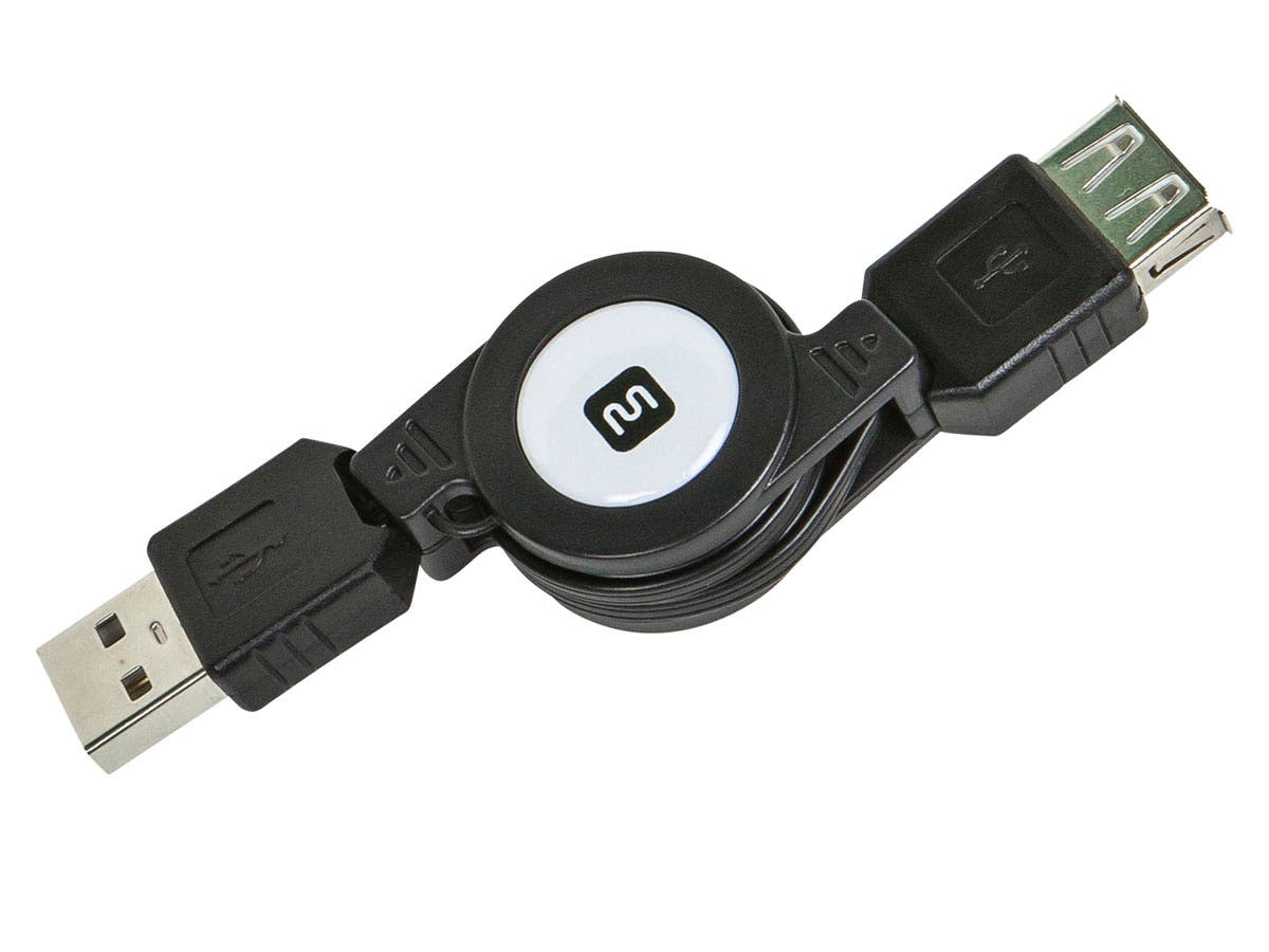 USB 2.0 Retractable Cable - A Male to A Female - 2.5 Ft