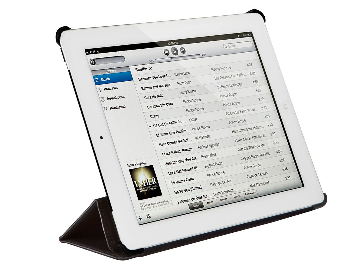 Synthetic Leather Stand/Cover with Magnetic Latch for iPad Air, Black