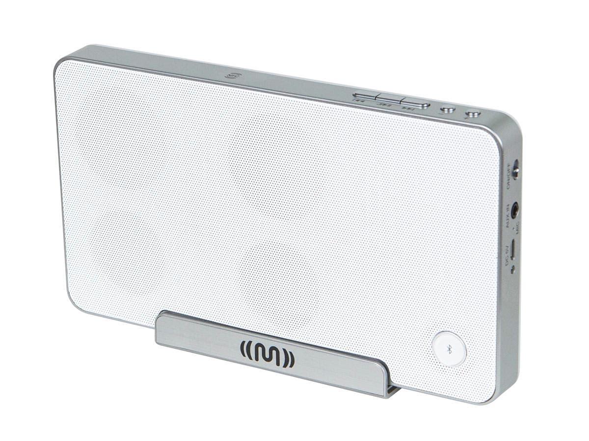 Monoprice Bluetooth NFC Speaker with Cradle, White-Large-Image-1