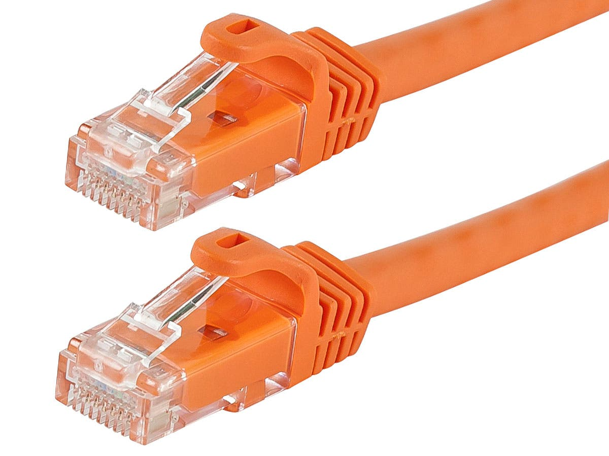 Monoprice Flexboot Cat6 Ethernet Patch Cable - Snagless RJ45, Stranded, 550Mhz, UTP, Pure Bare Copper Wire, 24AWG, 1ft, Orange-Large-Image-1