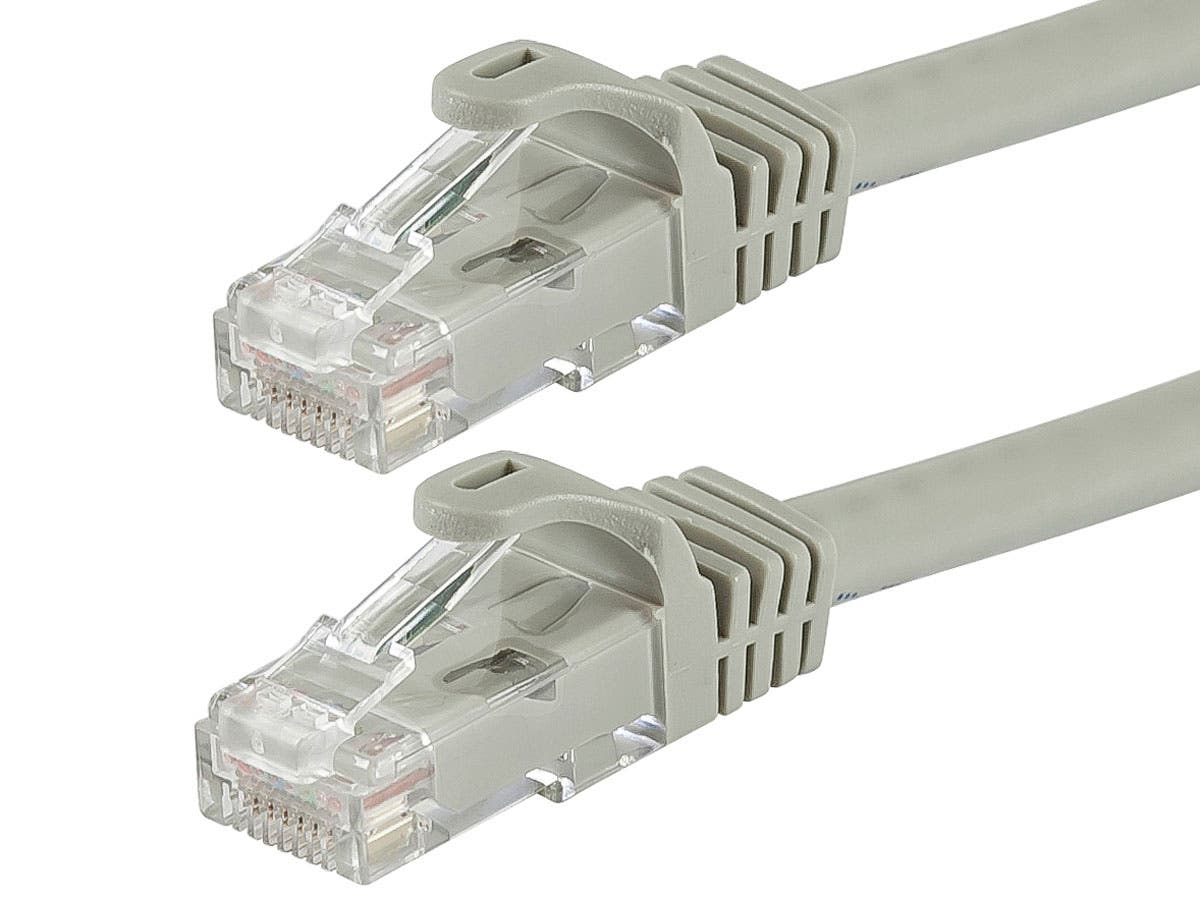 FLEXboot Series Cat6 24AWG UTP Ethernet Network Patch Cable, 75ft Gray