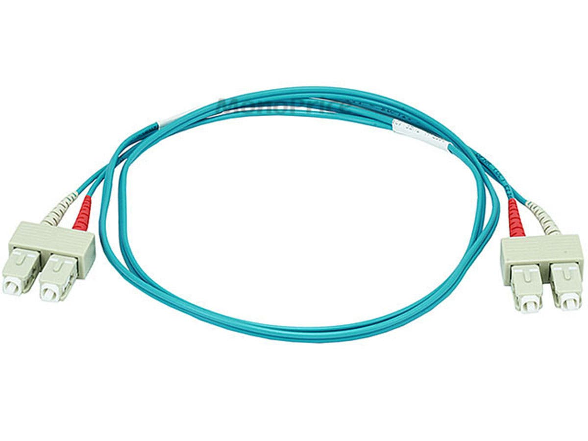 10Gb Fiber Optic Cable, SC/SC, Multi Mode, Duplex - 15 Meter (50/125 Type) - Aqua