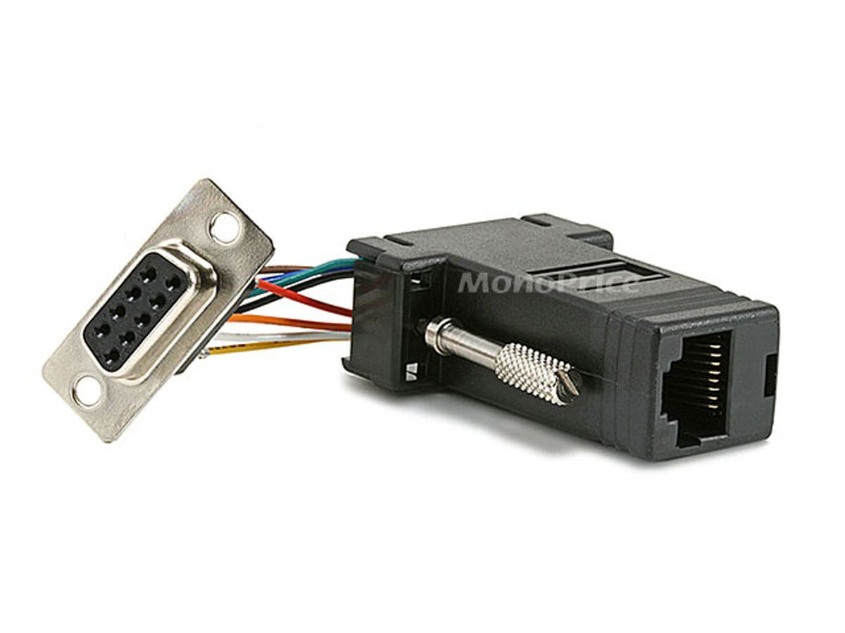 DB9F/RJ-45,Modular Adapter - Black Color