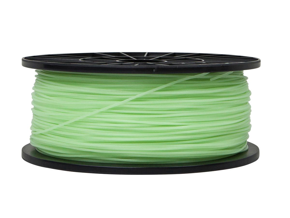 Monoprice Premium 3D Printer Filament PLA 1.75mm 1kg/spool, Glow In The Dark Green-Large-Image-1