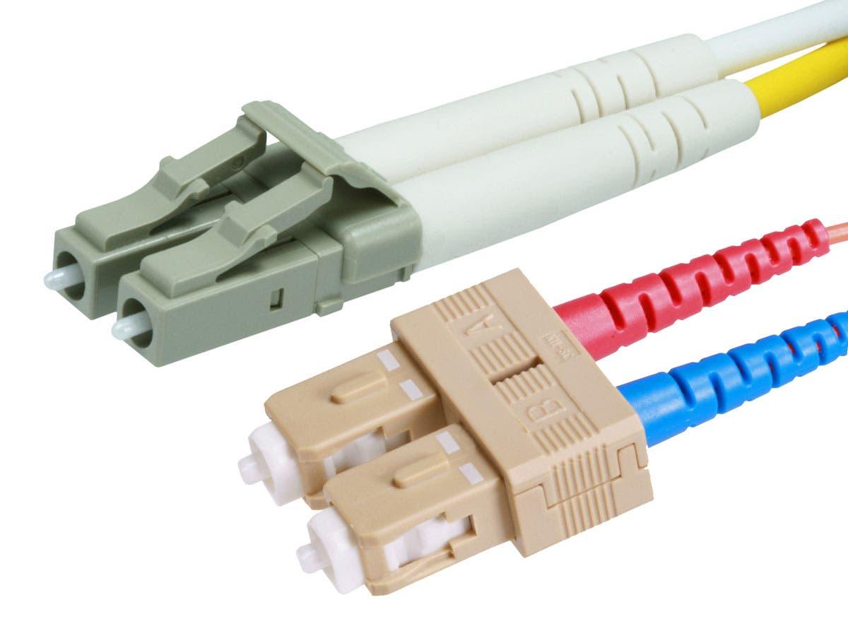 Monoprice 10Gb Fiber Optic Cable, LC/SC, Multi Mode, Duplex - 3 Meter (50/125 Type) - Aqua, Corning-Large-Image-1