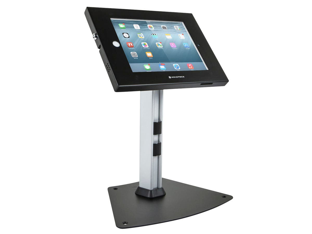 Safe and Secure Tablet  Desktop Display Stand for iPad 2-4 and iPad Air, Black-Large-Image-1