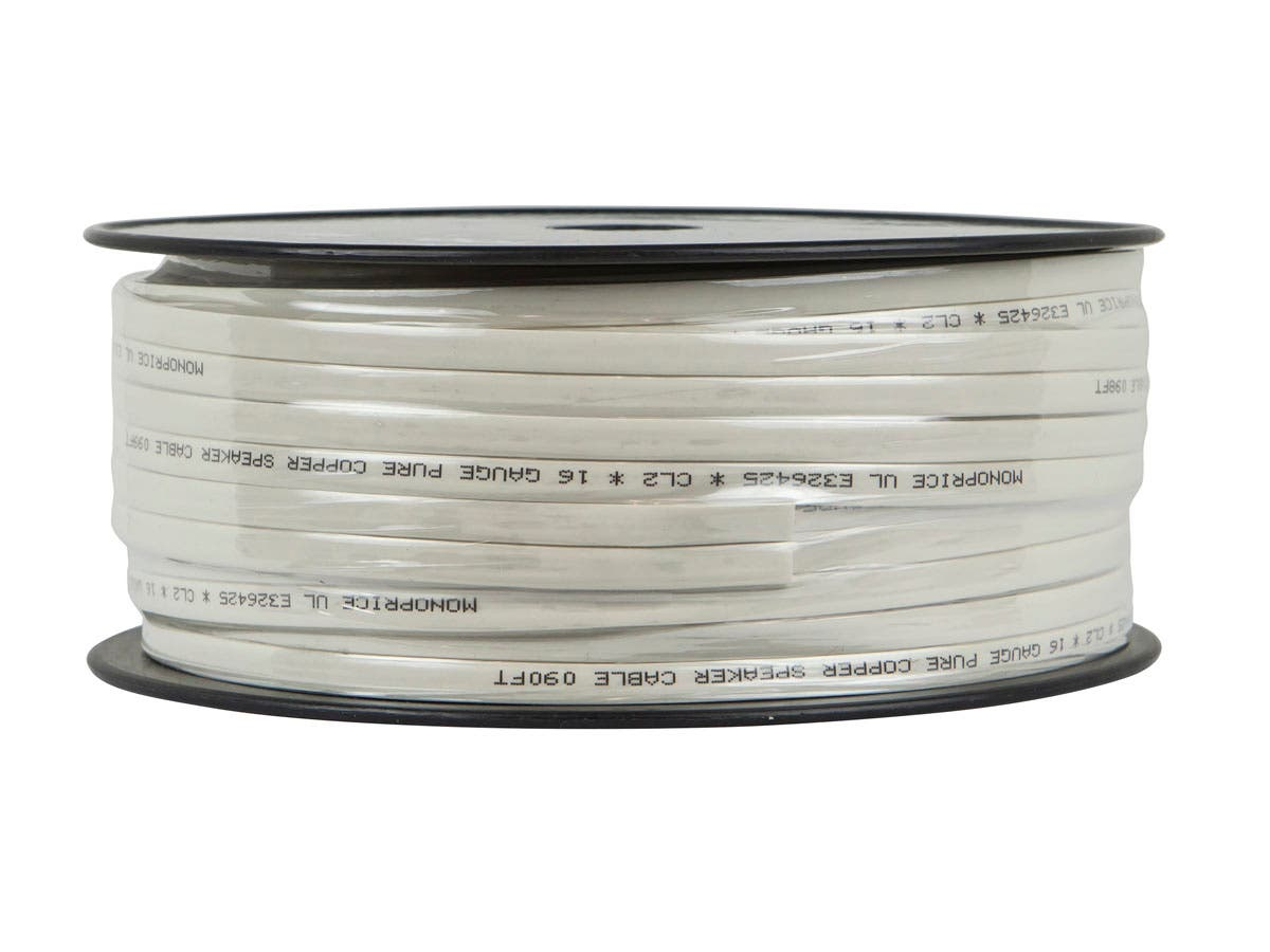 Monoprice Planate Series 16AWG Pure Copper Flat Speaker Wire, 100ft ...