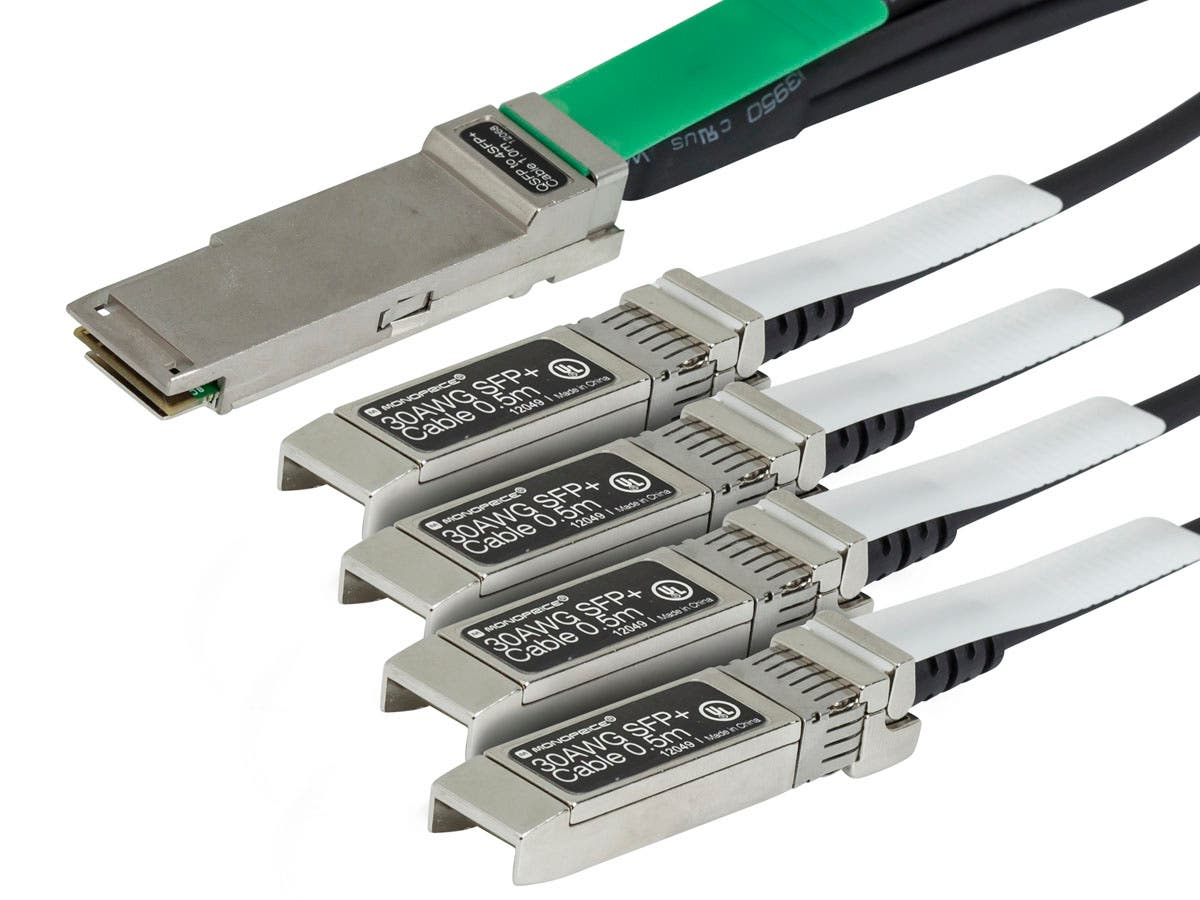 Monoprice 1M Cisco QSFP-4SFP10G-CU1M Compatible QSFP+ to 4SFP+ Breakout Cable-Large-Image-1