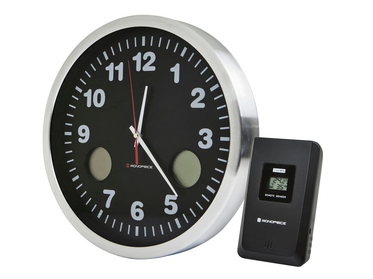 12-inch Wall Clock with Wireless Multi-zone Temperature Monitoring - Brushed Aluminum Bezel