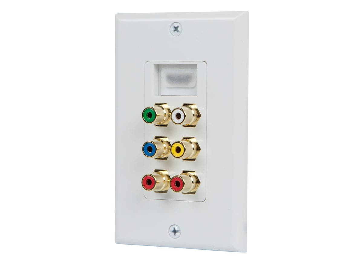 Recessed HDMI Wall Plate, with 1* HDMI F/F Adapter & 6 RCA Connector, Gold Plated White