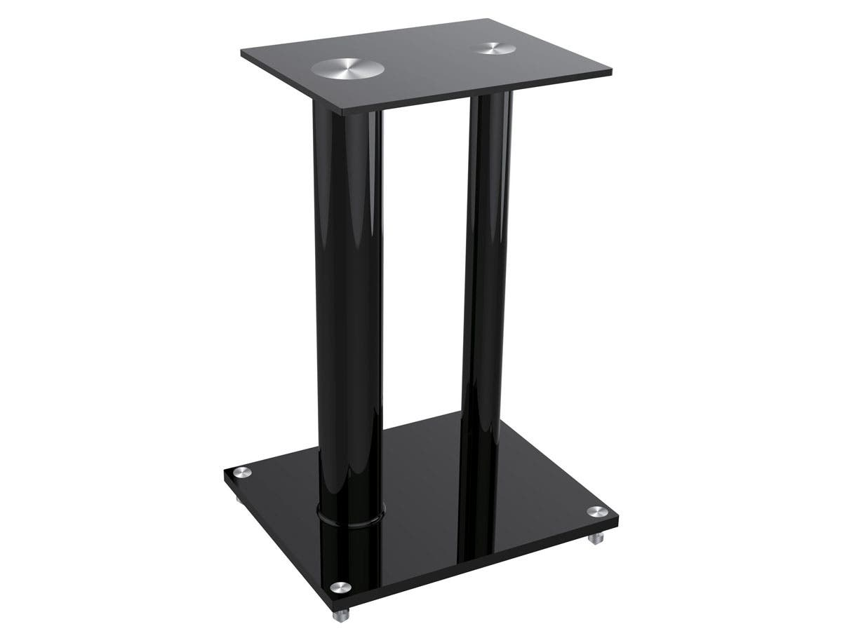 Monoprice Glass Floor Speaker Stands (pair), Black-Large-Image-1