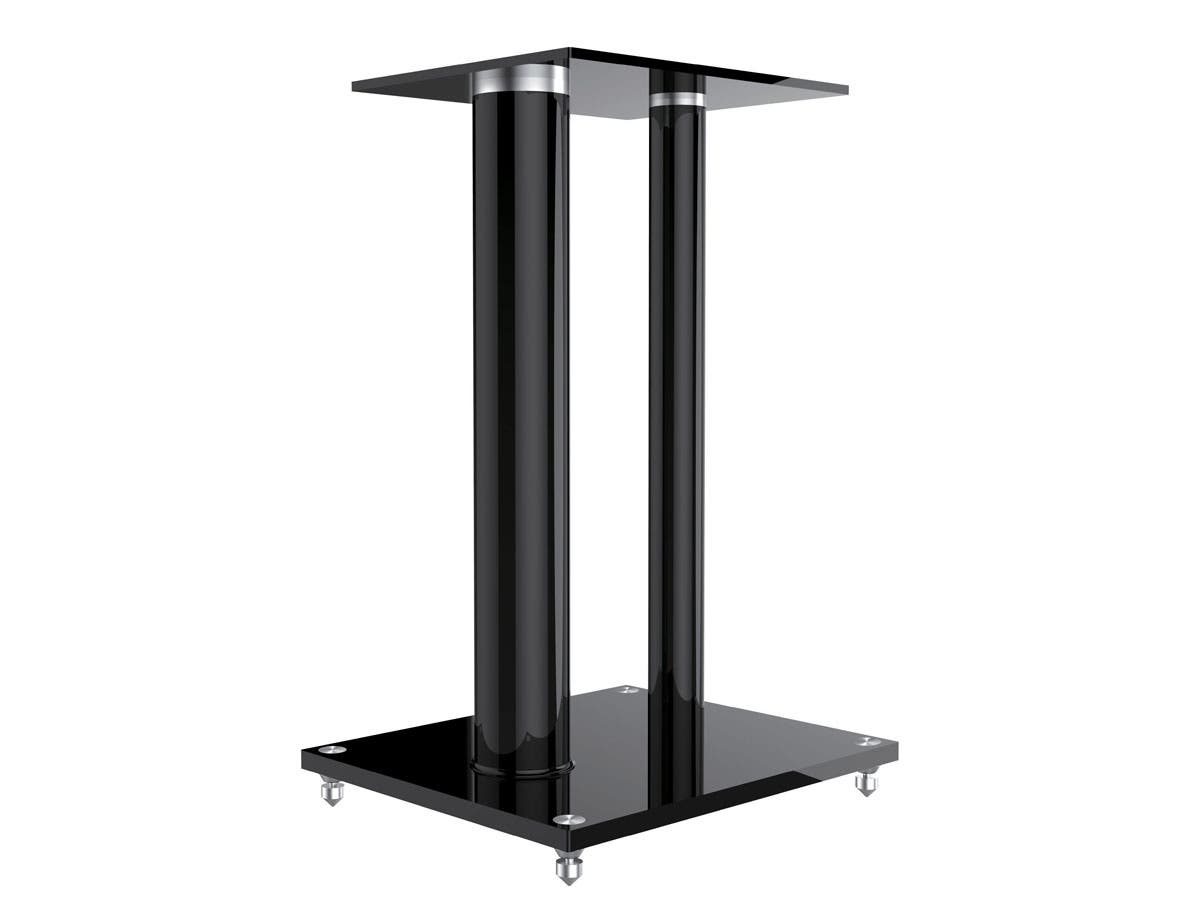 Glass Floor Speaker Stands Pair Black Monoprice Com