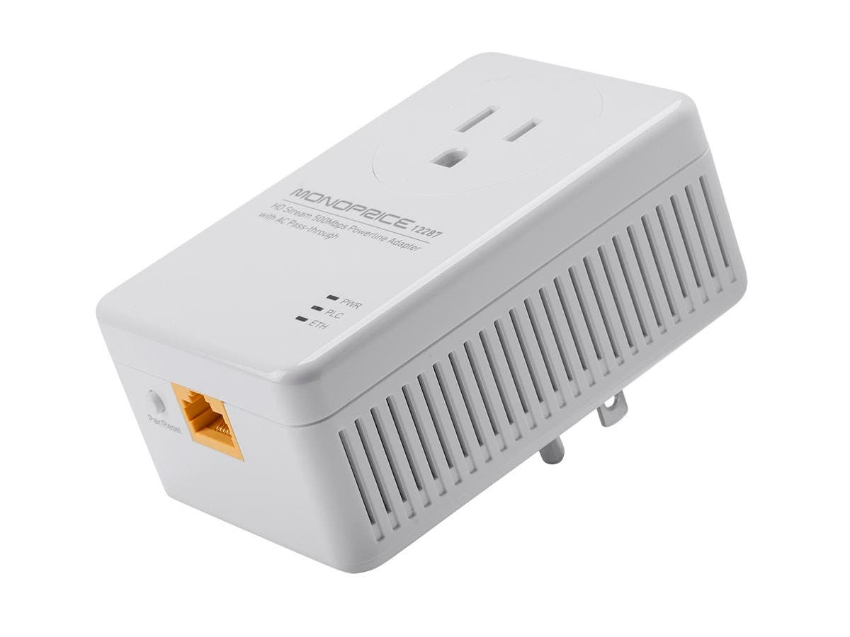 Monoprice Ethernet over Power - HD Stream 500Mbps Powerline Adapter with AC Pass-Through-Large-Image-1