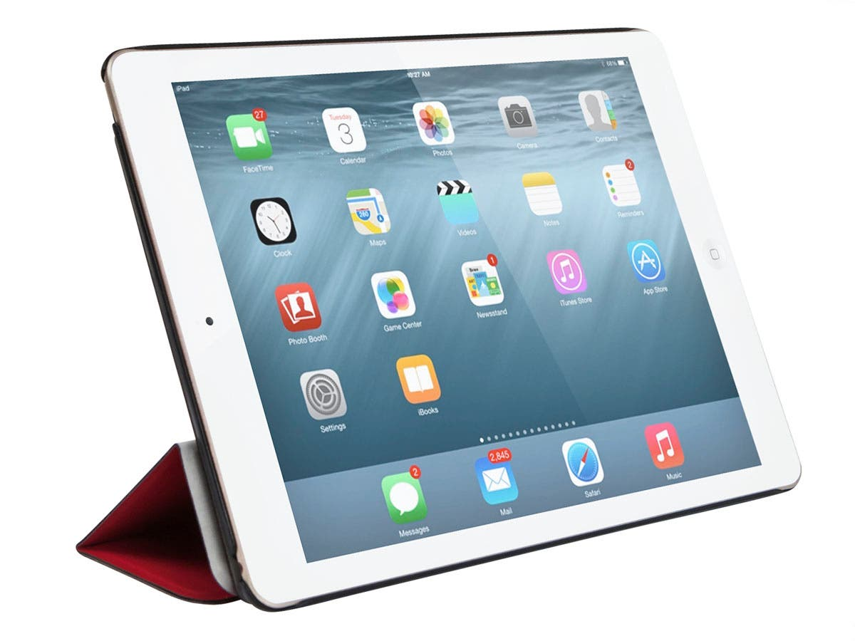 Synthetic Leather Stand/Cover with Magnetic Latch for iPad Air 2, Red