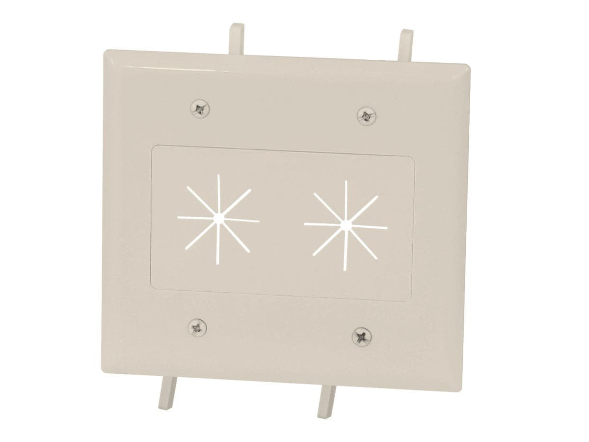 Cable Plate with Flexible Opening, 2-Gang, Lite Almond