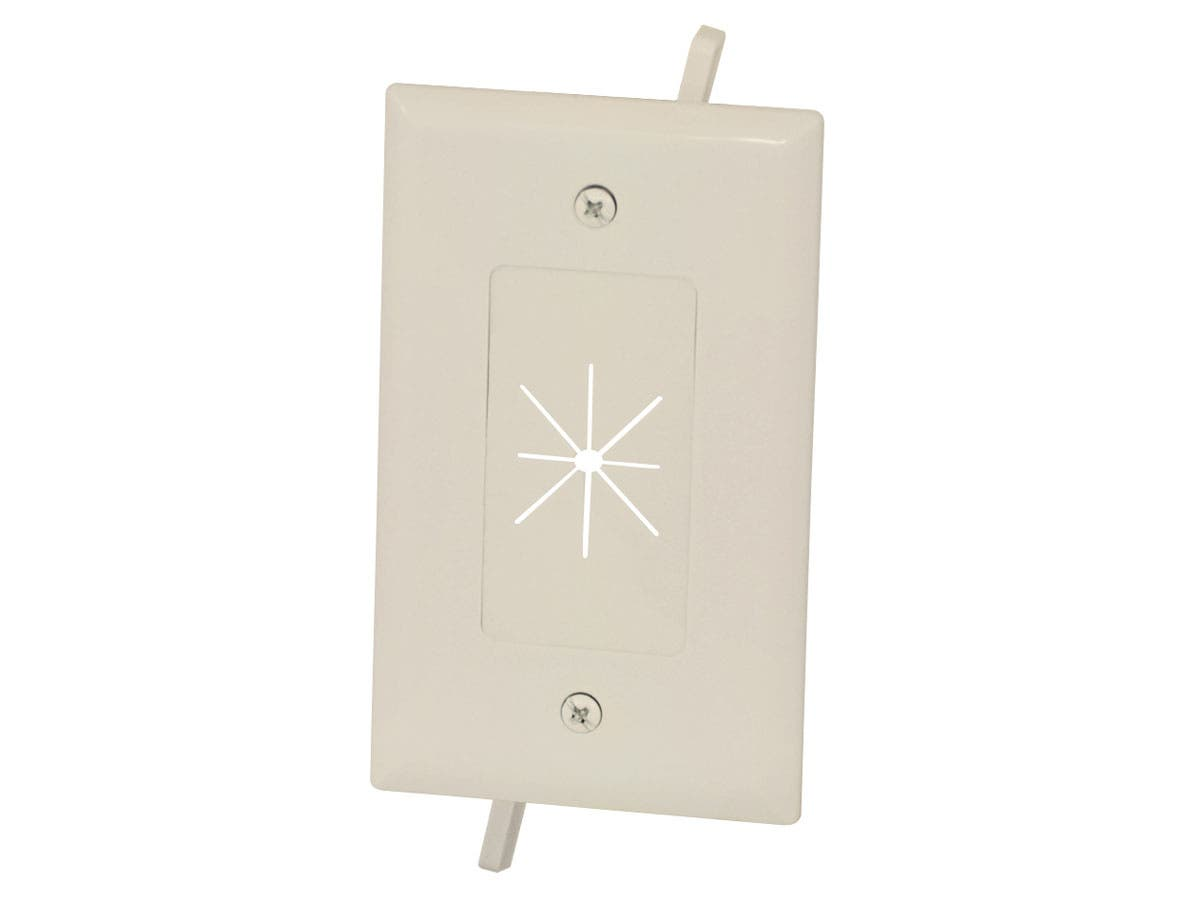 Cable Plate with Flexible Opening, 1-Gang, Lite Almond